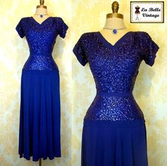 Vintage 40s FRANK STARR Glam Sapphire Blue Old Hollywood Sequin Crepe Dress S