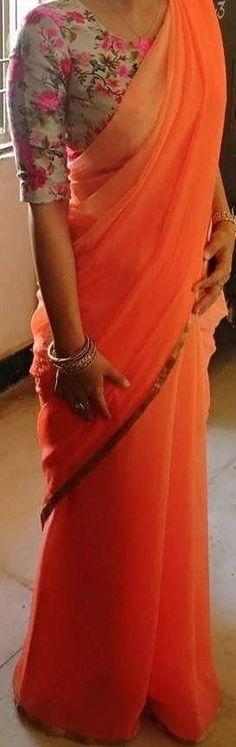 Floral blouse with orange & pink gradient saree Saree Blouse Patterns, Saree Blouse Designs, Indian Attire, Indian Outfits, Indian Dresses, Orange Saree, Plain Saree, Simple Sarees, Belle