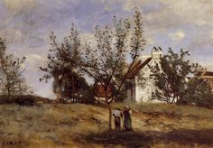 An Orchard at Harvest Time Jean-Baptiste-Camille Corot - circa 1850-1860 Private collection Painting - oil on canvas