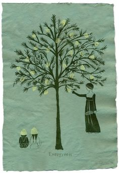 Evergreen, silkscreen print by Britt Browne featured on Ullahbenulla Moon Projects, Paper Moon, Silk Screen Printing, Middle Ages, Letterpress, Evergreen, Printmaking, Medieval, Moose Art