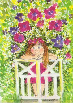 The Secret Garden ~ Virpi Pekkala Art And Illustration, Painting For Kids, Art For Kids, Dibujos Cute, Whimsical Art, Fabric Painting, Cute Art, Watercolor Art, Art Drawings
