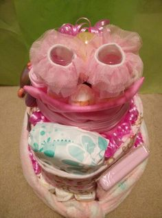 Top view of baby diaper cake
