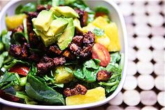 BBQ Tofu, Edamame & Pineapple Spinach Salad with Nectarine Balsamic Dressing Keepin' It Kind