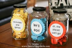 Summer fun jars!! Beat the boredom blues~EDITED: the original pin floating around was basically a plagiarized post from ShopDuckDuckGoose.com The original post was from The Crafting Chicks. I have update the source on this pin and I suggest you all do the same too!