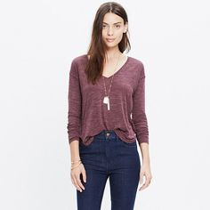 Laid-back and undeniably flattering, this long-sleeve T-shirt has a V-neck and split side vents for a tuck-friendly shape. Crafted of our signature Anthem fabric—the one with that extra-soft feel and perfect drape—this is one tee we can't help but hit replay on. <ul><li>Drapey fit.</li><li>Viscose.</li><li>Hand wash.</li><li>Import.</li></ul>