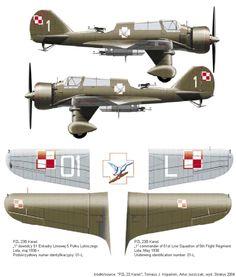 PZL.23B, 51 Eskadra Liniowa, 5 Pulk Lotniczy, Serial: 1 (01-L) Based at Lida, May 1938.