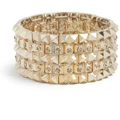 GUESS Gold-Tone Pyramid-Stud Rhinestone Bracelet ($18) ❤ liked on Polyvore featuring jewelry, bracelets, accessories, pulseiras, pulseras, goldtone jewelry, guess jewellery, guess jewelry, gold tone bangles and spikes jewelry