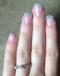 #nails #silver #glitter #tips #hearts #rubies #promise #ring