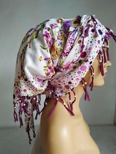70s Fashion, Winter Fashion, School Fashion, Womens Fashion, Head Wrap Scarf, Long Scarf, No Slip Headbands, Purple Scarves, Cotton Scarf