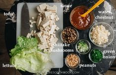 Try out this vegan meal that takes crunchy, crispy bite-sized pieces of fried tofu wrapped in lettuce with plenty of other textural elements that have all the flavor without any meat! {Vegan, Gluten-Free Adaptable} Plant Based Eating, Plant Based Diet, Plant Based Recipes, Tofu Wraps, Chili Garlic Sauce, Roasted Peanuts, Natural Peanut Butter, Healthy Appetizers