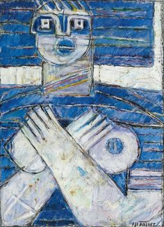 Moshe Tamir - Woman in Blue,  oil on canvas 60x40 cm