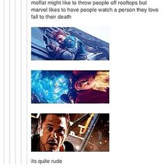 Falling off things is a curse. No, Marvel. Bad.