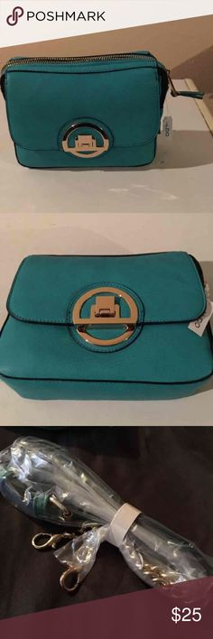 Aqua Blue/Green Small Aldo handbag Small Aldo purse with shoulder strap.  New with tags, never used. Aldo Bags Shoulder Bags