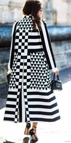 Black And White Graphic Statement Coat For A High Street Look