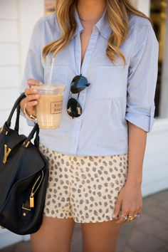 Gal Meets Glam- Chambray Top & Leopard Shorts