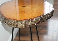 DIY Wood Slice Side Table 2 Our Crafty Mom