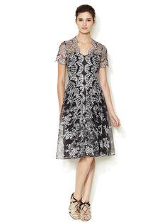 Carolina Herrera Embroidered Lace Flared Dress