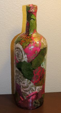 Lokta Paper Decoupage on Large Glass Wine #bottle by cutelittlecanvases, $25.00 #art #austin