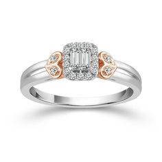 Rose and White Gold Baguette Cluster Diamond Engagement Ring. This ring features of diamonds, with a double baguette center and round diamond halo. Accented by a rose gold heart shaped design. Engagement Rings Sale, Diamond Cluster Engagement Ring, Diamond Promise Rings, Solitaire Rings, Engagement Jewelry, Solitaire Engagement, Cool Wedding Rings, Wedding Jewelry, Rose Gold Ring Set