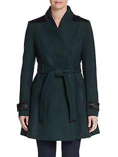 Badgley Mischka Flared Wool-Blend Coat 0492837722475