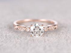 5mm Round Moissanite Engagement Ring Diamond Wedding Ring 14k Rose Gold Halo Marqise Art Deco Prong Set