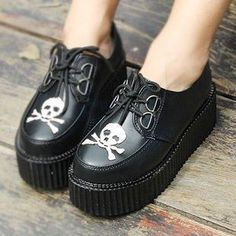 Image Chaussures - Bottines bottes chaussure talon creepers rock motarde noir tête mort skull squelette punk goth gothique gothic - PriceMinister - 44,99 €
