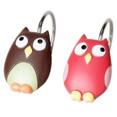 Owl Shower Curtain Hooks (Set of 12)
