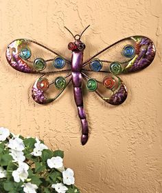 New Bejeweled Dragonfly Outdoor Wall Decor Metal and Glass Corner Wall Decor, Metal Wall Decor, Home Wall Decor, Butterfly Wall Decor, Glass Butterfly, Paper Room Decor, Staircase Wall Decor, Wall Hanging Crafts, Baskets On Wall