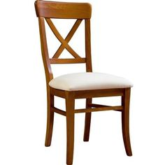 Silla de comedor cruceta con asiento pretapizado, estructura realizada en madera de Pino macizo.