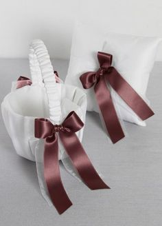 pillow and basket set - color rosewood