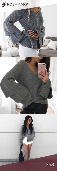 🆕 'Reina' Grey Flare Triple Sleeve Sweater Brand new. One size but best fits XS-S 🙅🏼 No trades 📫 I ship same day ☝🏻 I only sell on posh 🎁 I offer 10% off bundles of 3+ items ❓Comment with any questions! Sweaters