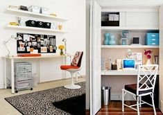 From Designer to DIY: Wall Organization for Every Budget Ikea Lack wall shelf, spanning the wall width, making a closet into a bookshelf or recessed … Shelves Above Desk, Ikea Lack Wall Shelf, Floating Shelves, Lack Shelf, Office Shelving, Desk Organization Tips, Desk Storage, Hack Ikea, Ikea Linnmon