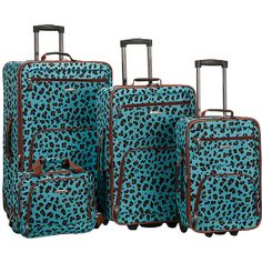 Rockland Luggage Safari 4 Piece Luggage Set ($130) ❤ liked on Polyvore featuring bags, luggage, blue and luggage sets