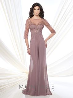Montage by Mon Cheri - 215919 - Chiffon and tulle slim A-line gown with hand-beaded illusion three-quarter sleeves and bateau neckline, sweetheart bodice, crisscross ruched empire waist, beaded illusion keyhole back, center gathered skirt, sweep train.Sizes: 4 - 20, 16W - 26WColors: Gunmetal, Mink, Navy Blue