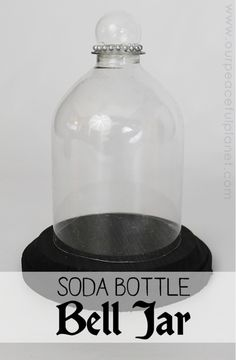 This classy display case is made from a plastic soda bottle!  Also known as a cloche it's a fun way to display all kinds of things! We have several examples for you too!