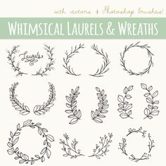 CLIP ART: Whimsical Laurels & Wreaths // by thePENandBRUSH on Etsy