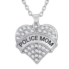 """Clear Crystal Big Heart Police Mom Pendant 20"""" Link Chain Necklace Jewelry Gifts for Women"""