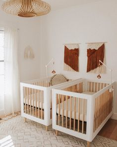 Bohemian Nursery Design - Bohemian Nursery Interior Design With A Neutral Color Palette & Rust Accents - Twin Baby Rooms, Baby Room Boy, Baby Bedroom, Twin Room, Twin Nurseries, Baby Room Neutral, Nursery Neutral, Neutral Nurseries, Gender Neutral