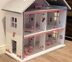 Puppenhaus XXL weiss rosa grau Shabby  von Domis Pusteblume auf DaWanda.com