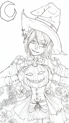 Happy Halloween -lineart- by Rein-Yagami on DeviantArt Witch Coloring Pages, Halloween Coloring Pages, Printable Coloring Pages, Adult Coloring Pages, Coloring Books, Whimsical Halloween, Happy Halloween, Halloween Art, Colorful Drawings