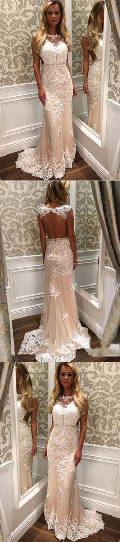 New Sheath Column Lace Backless Tulle Prom Dress With Appliques M1541#prom #promdress #promdresses #longpromdress #promgowns #promgown #2018style #newfashion #newstyles #2018newprom #eveninggown #sheath #lace #backless #tulle #appliques