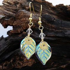Fairy Lights Gold Leaf Earrings by Thyme2dream on Etsy