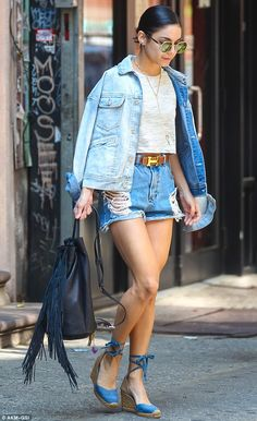 Vanessa Hudgens.. Castaner Carina Espadrille Sandals, Hermes Constance Belt, Kenneth Cole Prince Street Bag, and Wildfox Dakota Sunglasses..