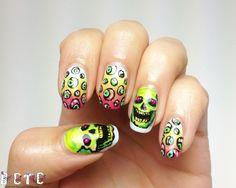 BASE COAT TOP COAT, NEON HALLOWEEN #nail #nails #nailart
