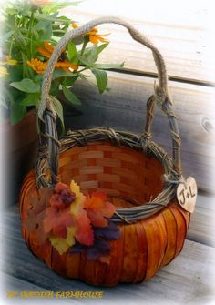 Pumpkin Flower Girl Basket Rustic Wedding by MinSvenskaLandgard, $30.00