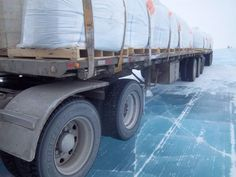56 tons of bagged shotcrete. Ice road trucking over MacKay lake NWT, Canada. How thick is this ice?