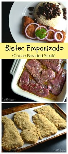 Bistec Empanizado (Cuban Breaded Steak) - My WordPress Website Cuban Dishes, Spanish Dishes, Beef Dishes, Spanish Food, Spanish Meals, Meat Recipes, Mexican Food Recipes, Cooking Recipes, Recipies