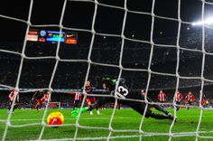 Lionel Messi of FC Barcelona scores the opening goal from the penalty spot during the La Liga match between FC Barcelona and Athletic Club de Bilbao at Camp Nou on January 17, 2016 in Barcelona