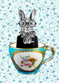 Animal painting portrait painting Giclee Print Acrylic Painting Illustration Print wall art wall decor Wall Hanging: Rabbit in A Cup