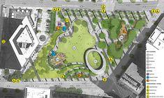 Pacific Plaza - Parks for Downtown Dallas Landscape Design Plans, Urban Landscape, Trust For Public Land, Plaza Design, Wetland Park, Public Space Design, Pavilion Design, Urban Architecture, Parking Design